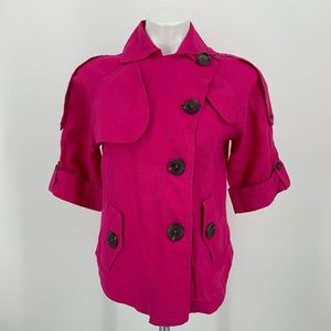 Chico's 100% Linen Pink Jacket Size S NWOT